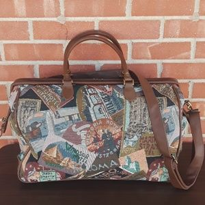 Vintage tapestry Weekender bag suitcase